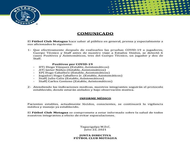Comunicado de Motagua RCV